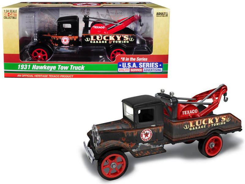 1931 Hawkeye Texaco Tow Truck Lucky's Garage Towing Unrestored 8th Series USA Series Utility Service Advertising 1/34 Diecast Model Autoworld CP7515