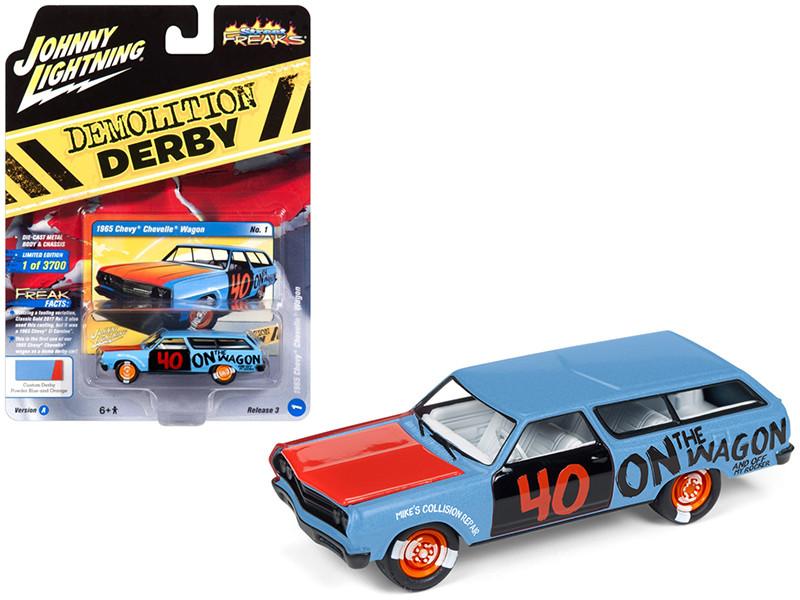 1965 Chevrolet Chevelle Wagon #40 Powder Blue Limited Edition 3700 pieces Worldwide 1/64 Diecast Model Car Johnny Lightning JLCP7118