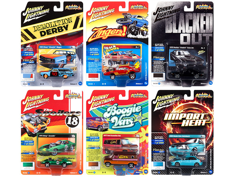 Street Freaks 2018 Release 3 Set A of 6 Cars 1/64 Diecast Models by Johnny Lightning