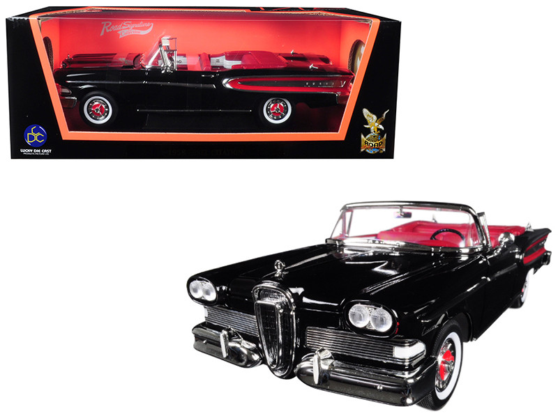 1958 Edsel Citation Convertible Black 1/18 Diecast Model Car Road Signature 92298