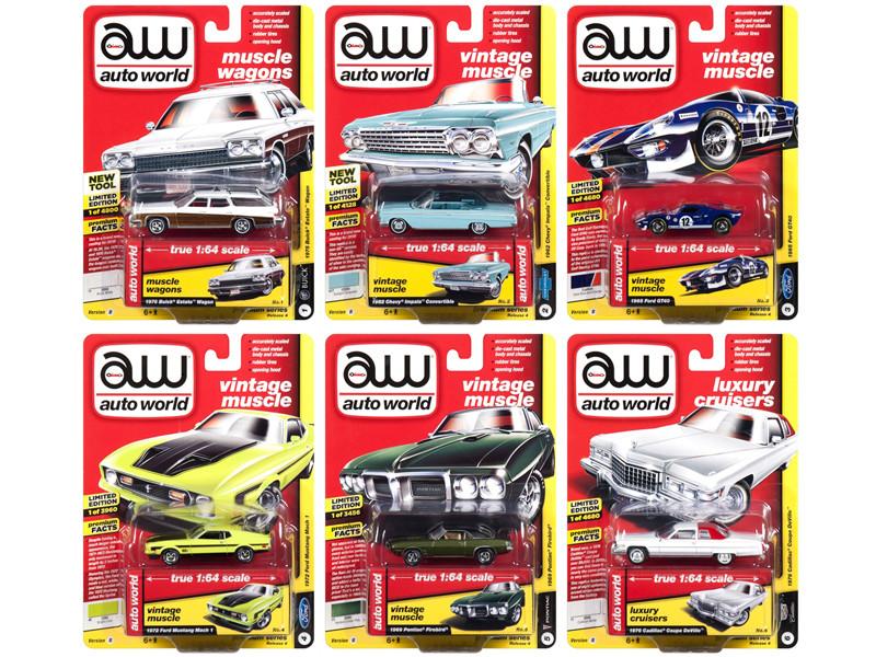 Autoworld Muscle Cars Premium 2018 Release 4 B Set 6 Cars 1/64 Diecast Model Cars Autoworld 64192 B