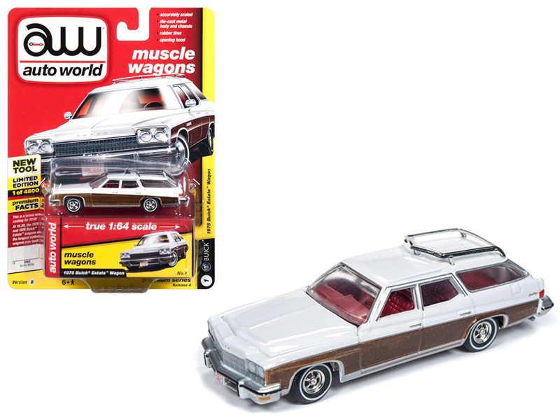 1975 Buick Estate Wagon Sand Gloss White Woodgrain Muscle Wagons Limited Edition 4800 pieces Worldwide 1/64 Diecast Model Car Autoworld AWSP013 B