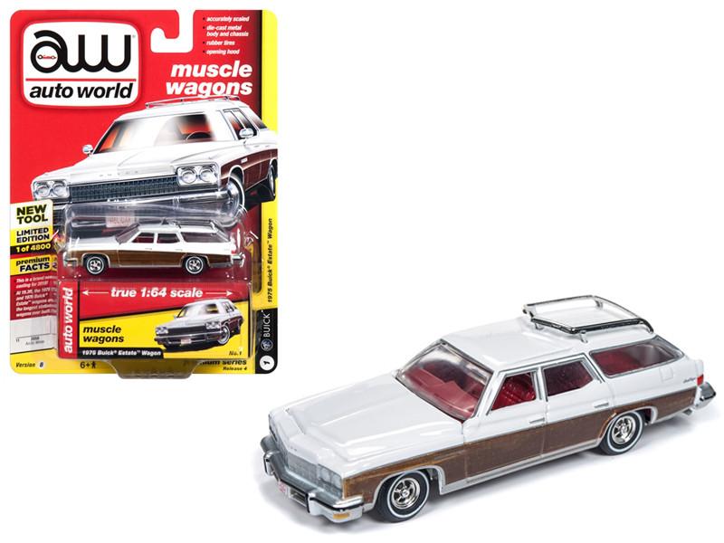 1975 Buick Estate Wagon Sand Gloss White Woodgrain Muscle Wagons Limited Edition 4800 pieces Worldwide 1/64 Diecast Model Car Autoworld AWSP013 B