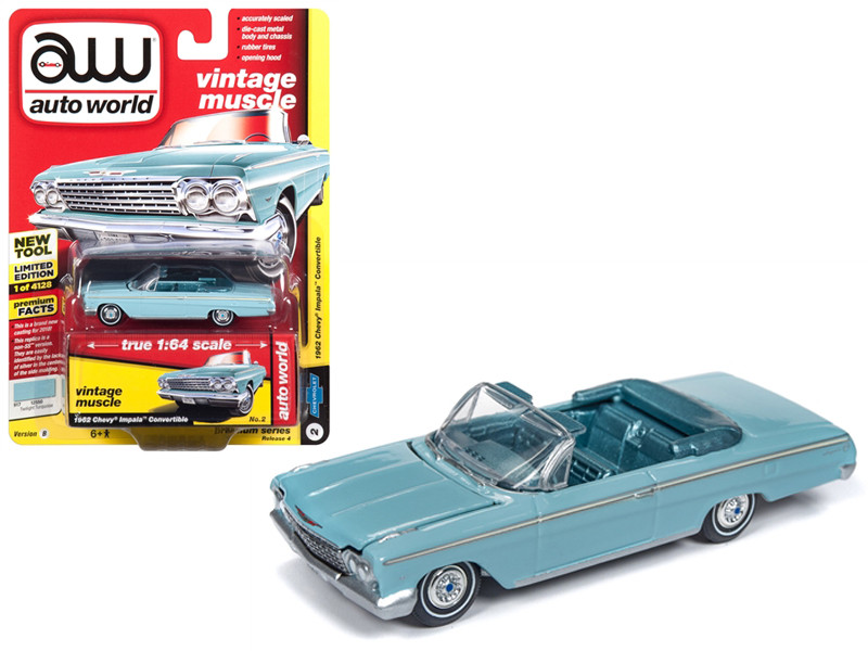 1962 Chevrolet Impala Open Convertible Twilight Turquoise Light Teal Interior Vintage Muscle Limited Edition 4128 pieces Worldwide 1/64 Diecast Model Car Autoworld AWSP014 B