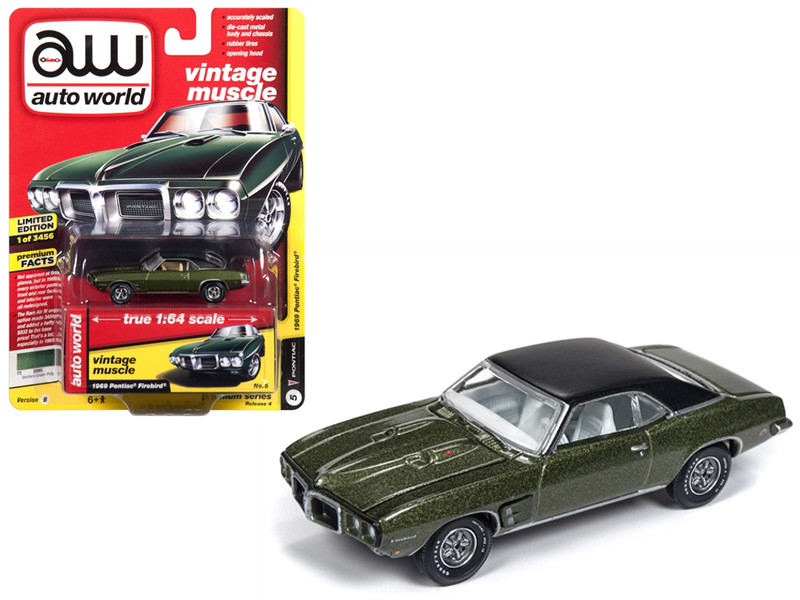 1969 Pontiac Firebird Verdoro Green Poly Flat Black Roof Vintage Muscle Limited Edition 3456 pieces Worldwide 1/64 Diecast Model Car Autoworld AWSP018 B