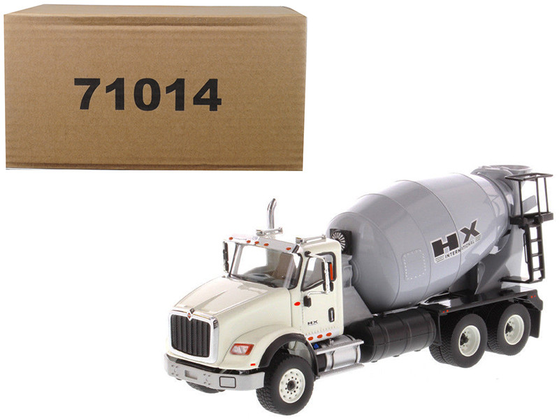 International HX615 Concrete Mixer White with Grey Mixer Drum 1/50 Diecast Model by Diecast Masters