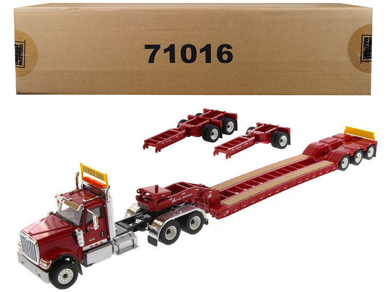 International HX520 Tandem Tractor Red XL 120 Lowboy Trailer 1/50 Diecast Model Diecast Masters 71016