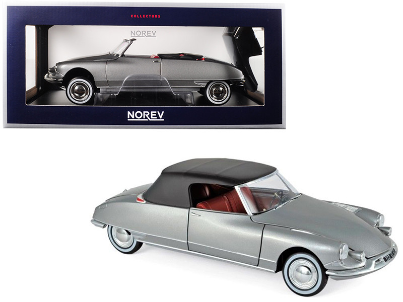 1961 Citroen DS 19 Cabriolet Pearl Grey 1/18 Diecast Model Car Norev 181598