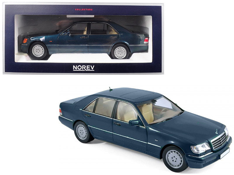 1997 Mercedes Benz S600 V12 Metallic Green 1/18 Diecast Model Car Norev 183593