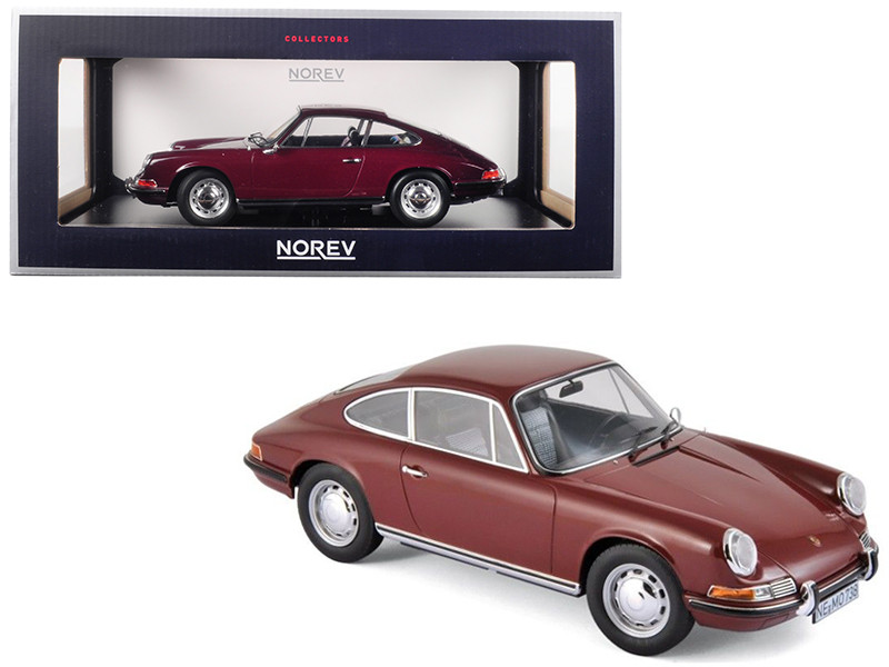 1969 Porsche 911 T Dark Red 1/18 Diecast Model Car Norev 187630
