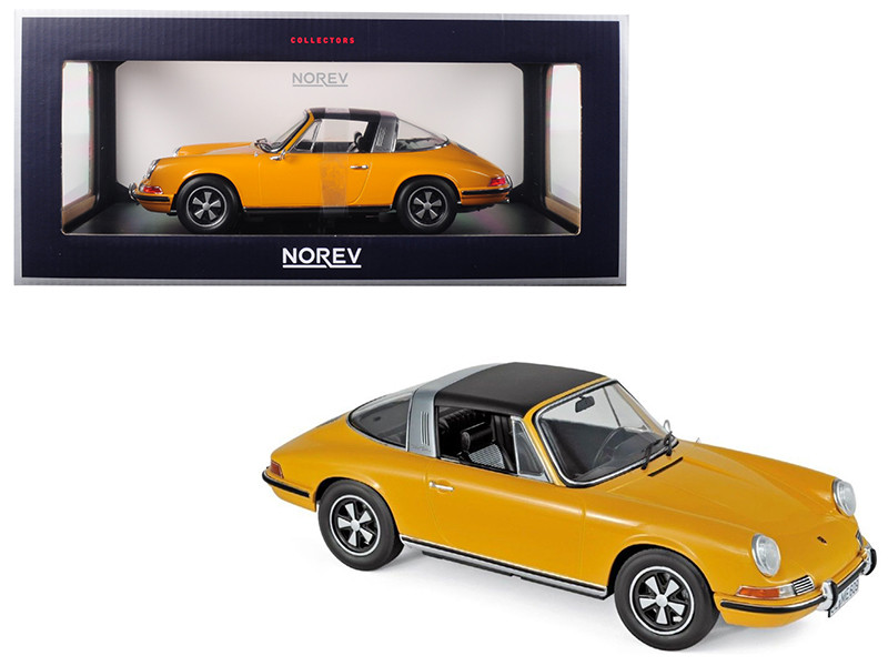 1969 Porsche 911 E Targa Orange Black Top 1/18 Diecast Model Car Norev 187633