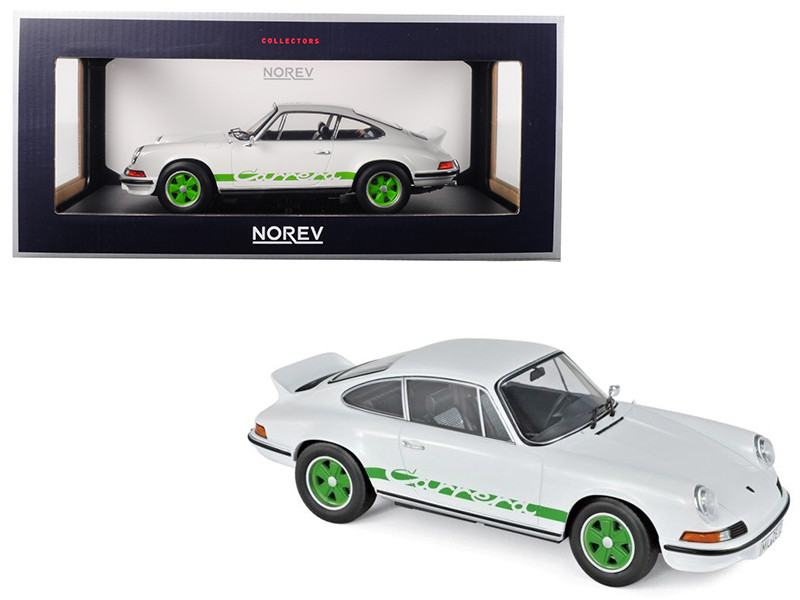 1973 Porsche 911 RS Touring White Green Stripes Wheels 1/18 Diecast Model Car Norev 187636