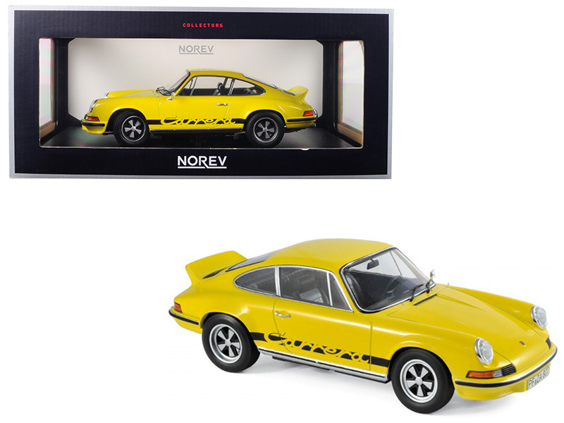 1973 Porsche Carrera 911 RS Touring Yellow Black Stripes 1/18 Diecast Model Car Norev 187638
