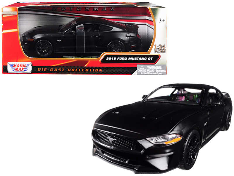 2018 Ford Mustang GT 5.0 Matt Black Black Wheels 1/24 Diecast Model Car Motormax 79352
