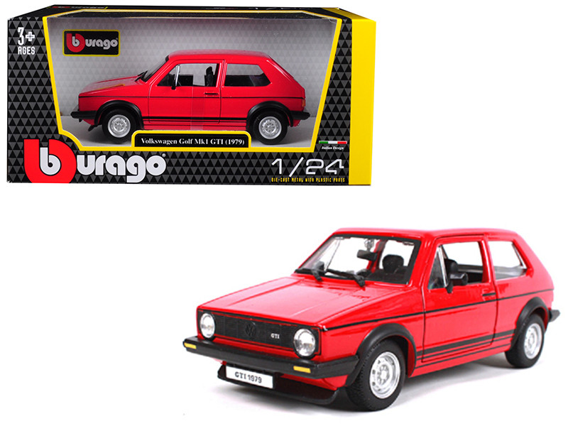 1979 Volkswagen Golf Mk1 GTI Red Black Stripes 1/24 Diecast Model Car Bburago 21089