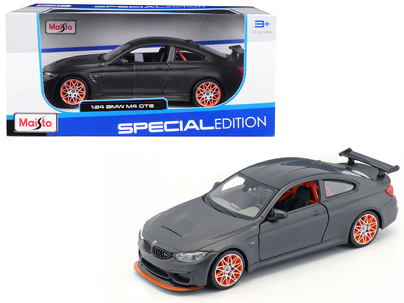 BMW M4 GTS Gray Carbon Top Orange Wheels 1/24 Diecast Model Car Maisto 31246