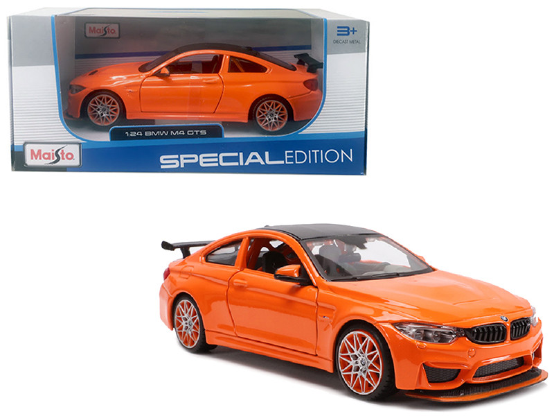 BMW M4 GTS Orange Carbon Top Orange Wheels 1/24 Diecast Model Car Maisto 31246