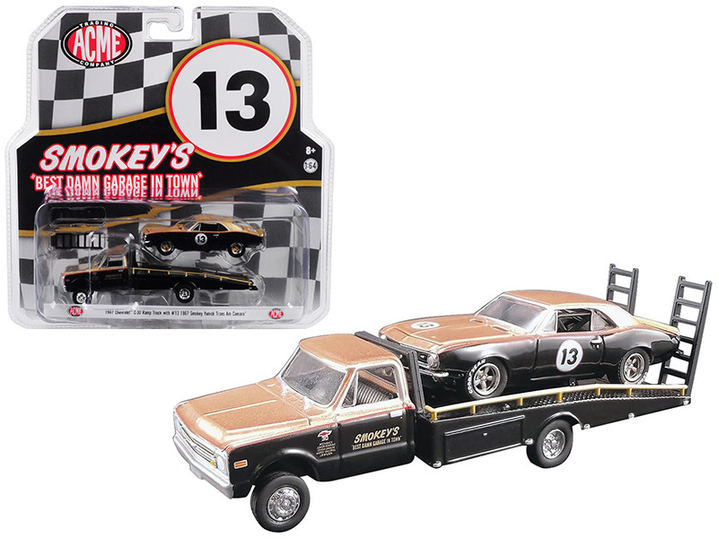1967 Chevrolet C30 Ramp Truck 1967 Chevrolet Camaro Trans Am #13 Gold Black Smokey Yunick Acme Exclusive 1/64 Diecast Model Cars Greenlight Acme 51164