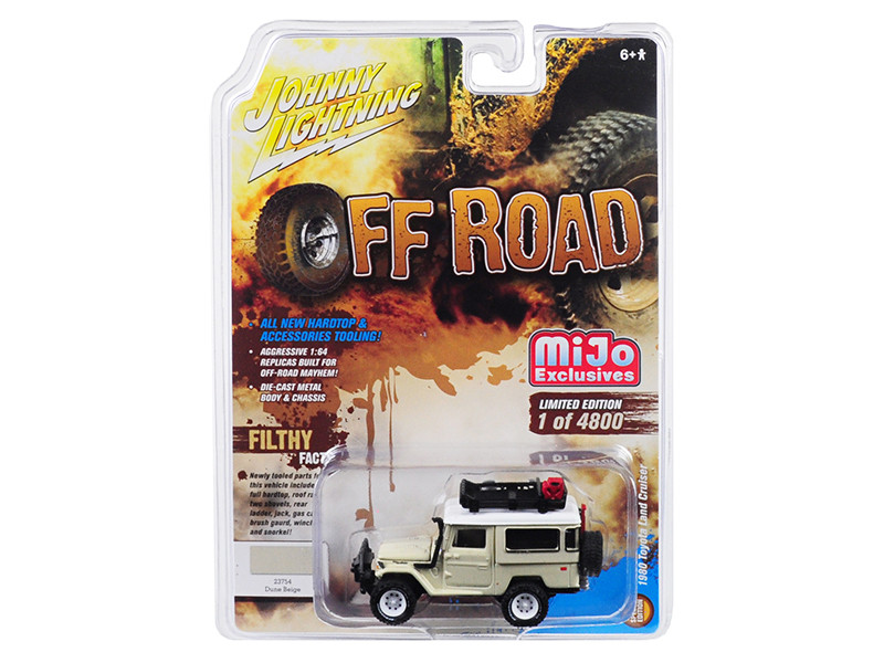 1980 Toyota Land Cruiser Accessories Dune Beige White Top Off Road Limited Edition 4800 pieces Worldwide 1/64 Diecast Model Car Johnny Lightning JLCP7145