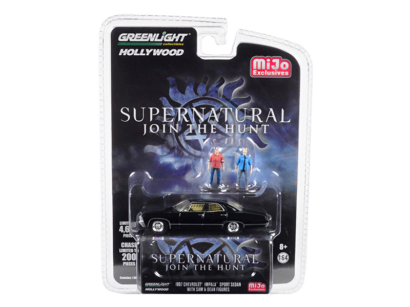 1967 Chevrolet Impala Sport Sedan Black Sam Dean Figurines Supernatural 2005 TV Series Limited Edition 4600 pieces Worldwide 1/64 Diecast Model Car Greenlight 51206