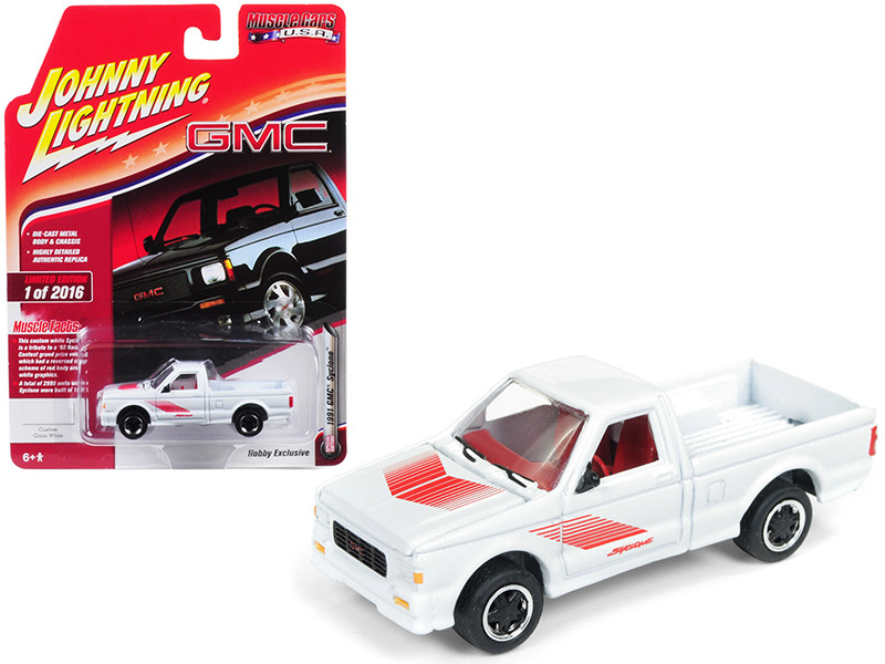 1991 GMC Syclone Pickup Truck Gloss White Red Graphics Muscle Cars USA Limited Edition 2016 pieces Worldwide 1/64 Diecast Model Car Johnny Lightning JLSP044
