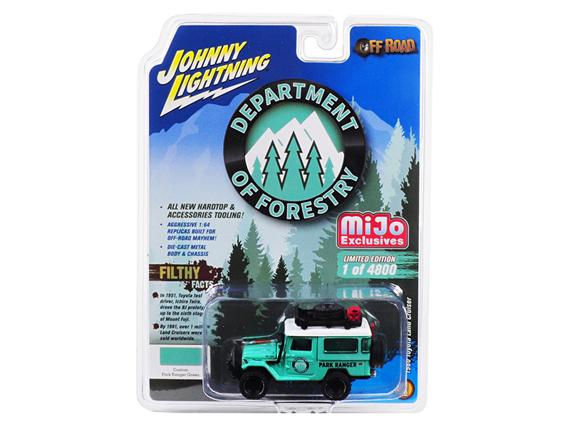 1980 Toyota Land Cruiser Accessories Turquoise Park Ranger Department Forestry Limited Edition 4800 pieces Worldwide 1/64 Diecast Model Car Johnny Lightning JLCP7146