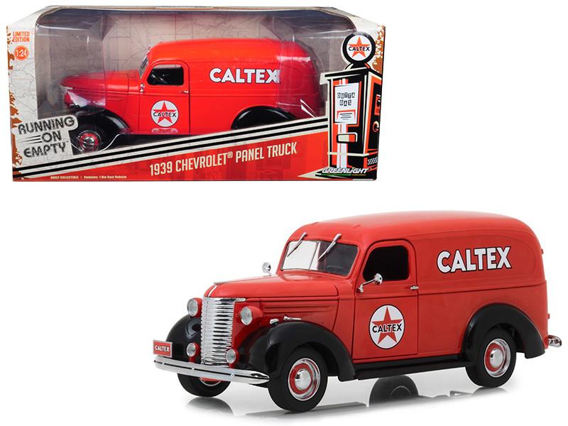 1939 Chevrolet Panel Truck Caltex Red Running Empty Series 1/24 Diecast Model Car Greenlight 18246
