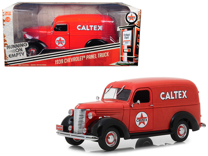 1939 Chevrolet Panel Truck Caltex Red Running Empty Series 1/24 Diecast Model Car Greenlight 18246