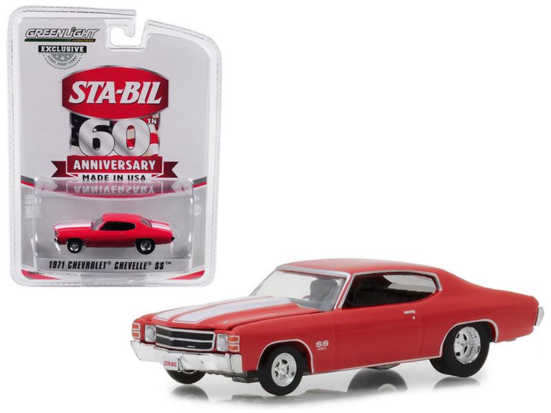 1971 Chevrolet Chevelle SS Red White Stripes STA-BIL 60 Anniversary Hobby Exclusive 1/64 Diecast Model Car Greenlight 29985