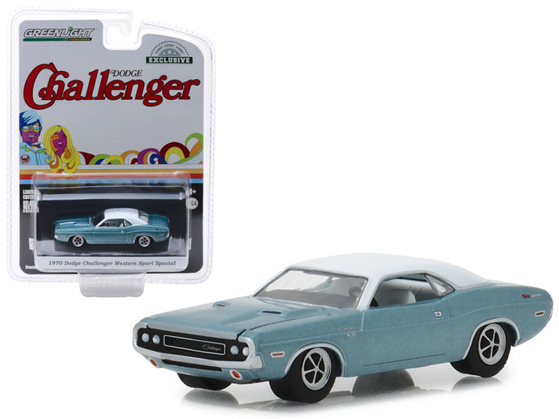 1970 Dodge Challenger Blue White Top Western Sport Special Hobby Exclusive 1/64 Diecast Model Car Greenlight 29986