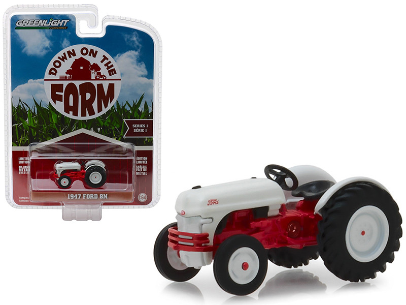 1947 Ford 8N Tractor White Red Down on the Farm Series 1 1/64 Diecast Model Greenlight 48010 A
