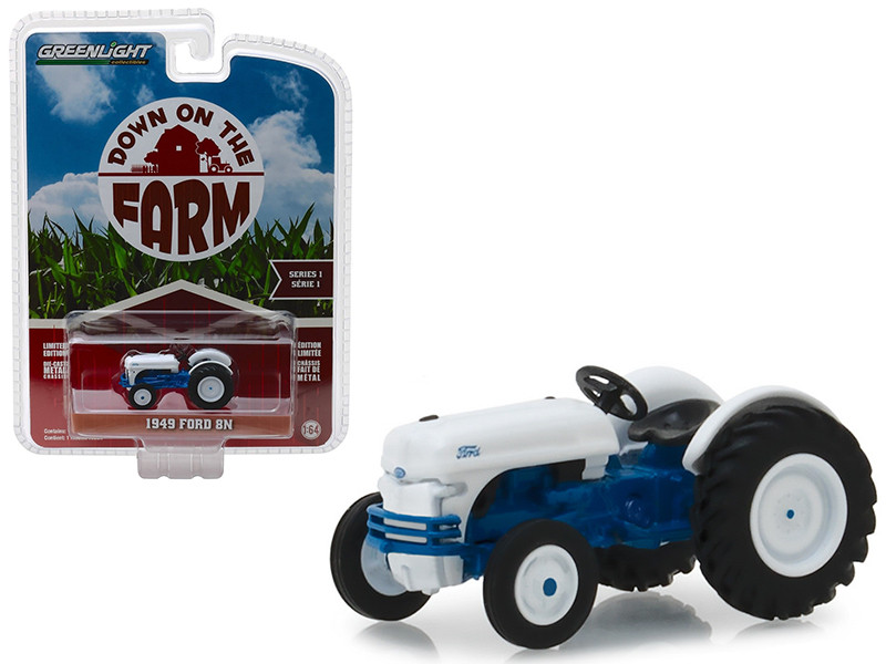 1949 Ford 8N Tractor White Blue Down on the Farm Series 1 1/64 Diecast Model Greenlight 48010 B