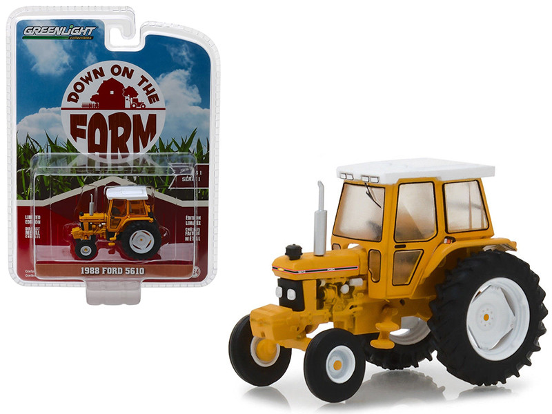 1988 Ford 5610 Tractor Yellow White Enclosed Cab Down on the Farm Series 1 1/64 Diecast Model Greenlight 48010 D