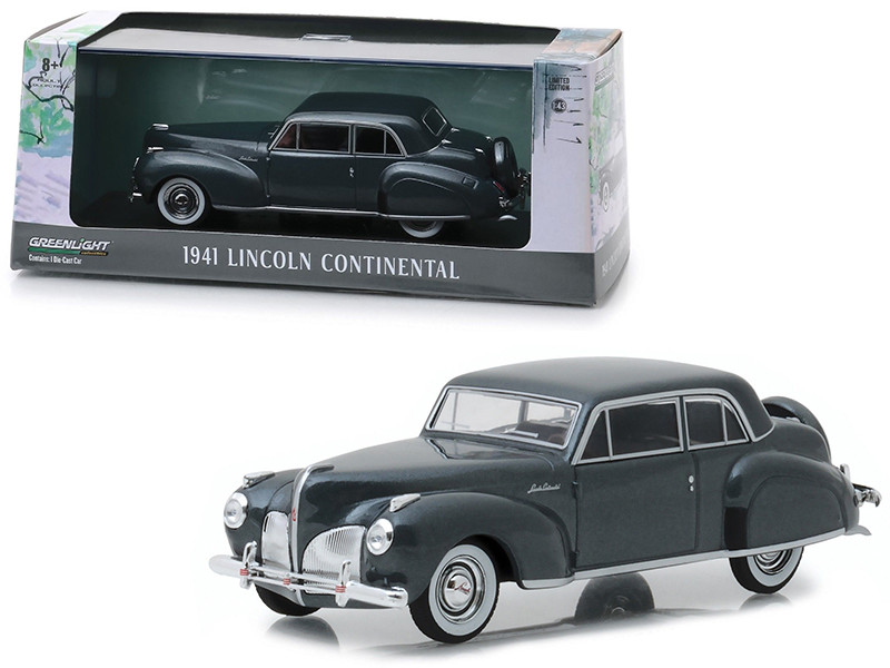 1941 Lincoln Continental Cotswold Gray Metallic 1/43 Diecast Model Car Greenlight 86325