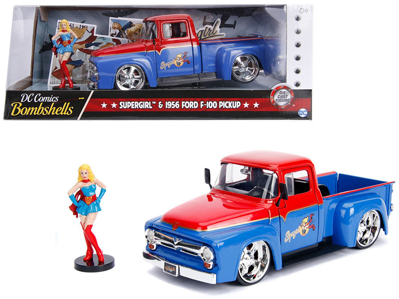 1956 Ford F-100 Pickup Truck Red Blue Supergirl Diecast Figure DC Comics Bombshells Series 1/24 Diecast Model Car Jada 30454