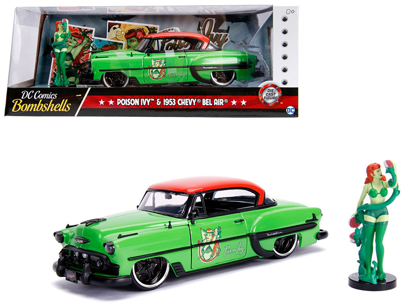 1953 Chevrolet Bel Air Green Red Top Poison Ivy Diecast Figure DC Comics Bombshells Series 1/24 Diecast Model Car Jada 30455