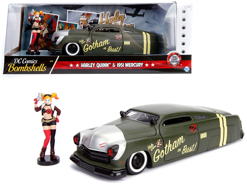 1951 Mercury Matt Green Harley Quinn Diecast Figure DC Comics Bombshells Series 1/24 Diecast Model Car Jada 30456