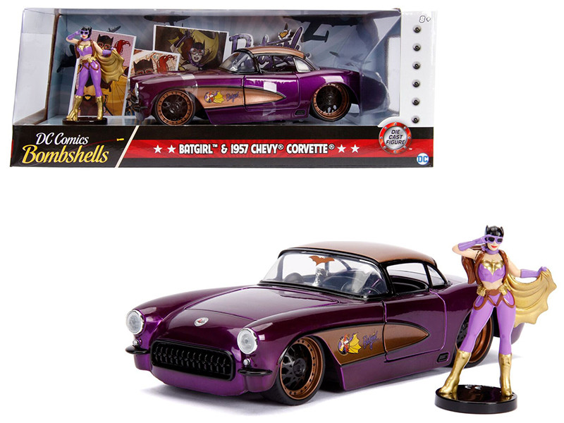 1957 Chevrolet Corvette Purple Batgirl Diecast Figurine DC Comics Bombshells Series 1/24 Diecast Model Car Jada 30457