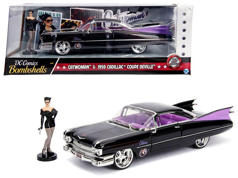 1959 Cadillac Coupe DeVille Black Catwoman Diecast Figure DC Comics Bombshells Series 1/24 Diecast Model Car Jada 30458