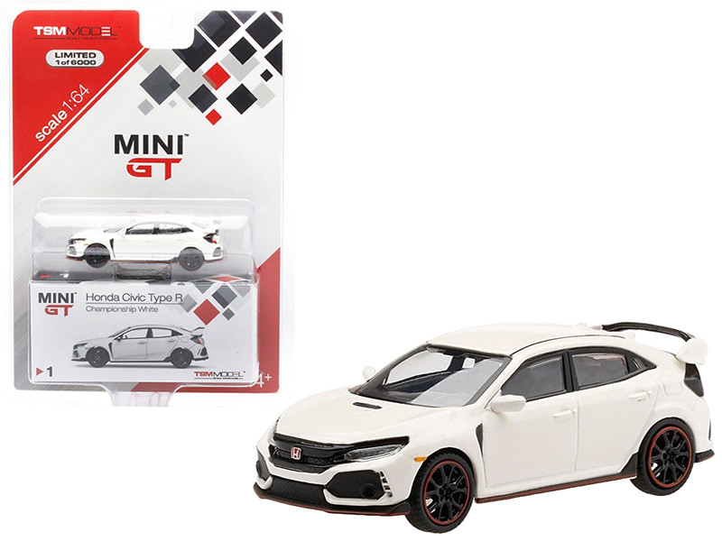 Honda Civic Type R FK8 Left-hand Drive Championship White Limited Edition 6000 pieces Worldwide 1/64 Diecast Model Car True Scale Miniatures MGT00001