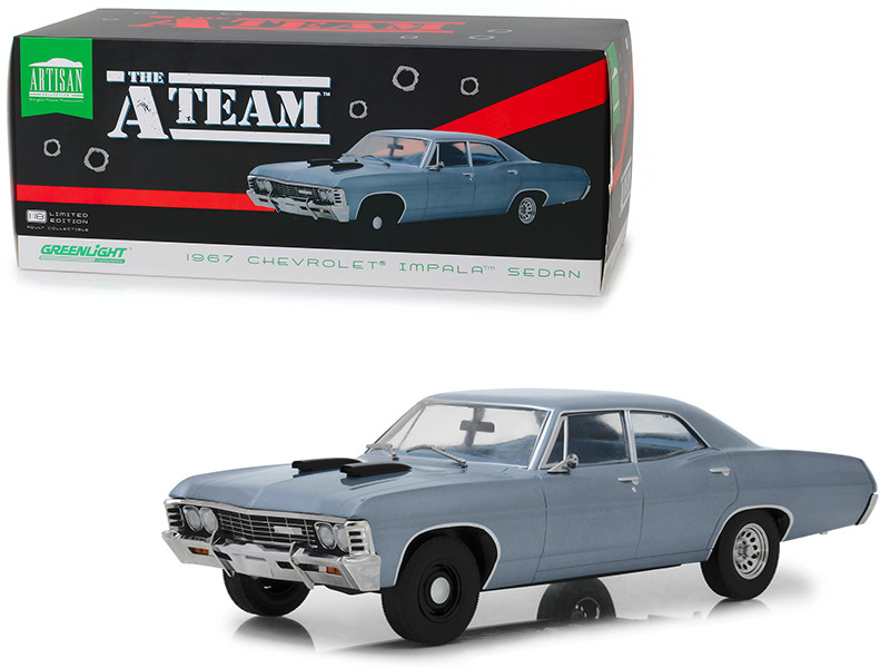 1967 Chevrolet Impala Sedan Steel Blue The A-Team 1983 1987 TV Series 1/18 Diecast Model Car Greenlight 19047