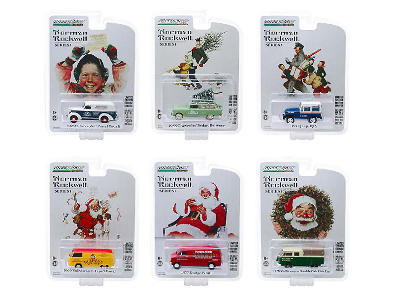 Norman Rockwell Delivery Vehicles Series 1 Set 6 Cars 1/64 Diecast Models Greenlight 37150
