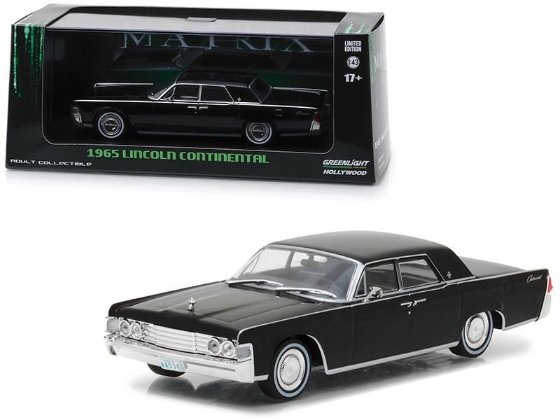 1965 Lincoln Continental Black The Matrix 1999 Movie 1/43 Diecast Model Car Greenlight 86512