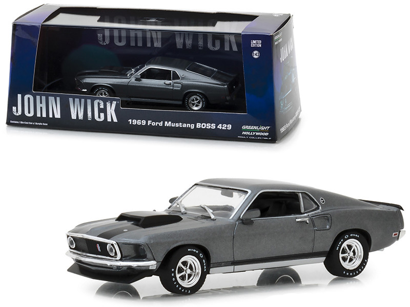 1969 Ford Mustang BOSS 429 Gray Black Stripes John Wick 2014 Movie 1/43 Diecast Model Car Greenlight 86540
