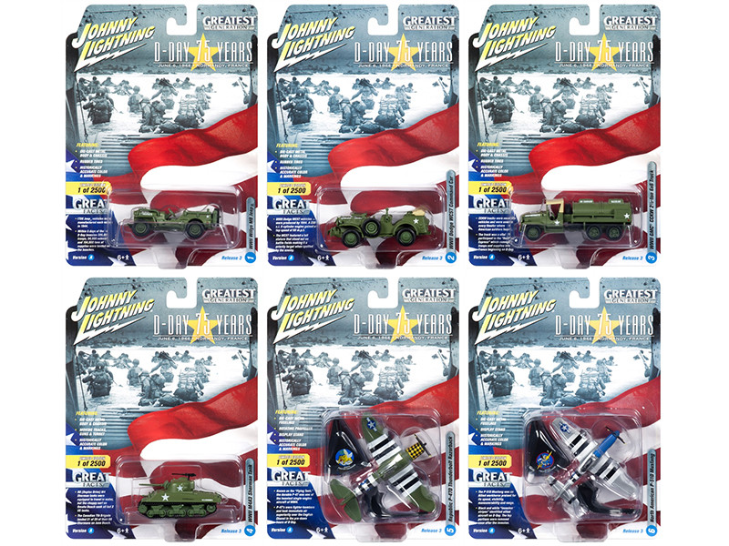 The Greatest Generation D-Day 75 Years Military Release 3 Set A 6 Limited Edition 2500 pieces Worldwide 1/64 1/87 1/100 1/144 Diecast Models Johnny Lightning JLML003 A