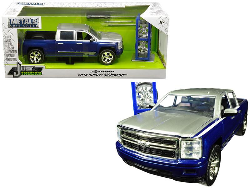 2014 Chevrolet Silverado Blue Silver Pickup Truck Extra Wheels Chevrolet Trucks 100 Anniversary Just Trucks Series 1/24 Diecast Model Car Jada 30041