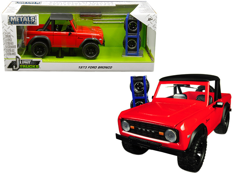 1973 Ford Bronco Red Matt Black Top Extra Wheels Just Trucks Series 1/24 Diecast Model Car Jada 30518