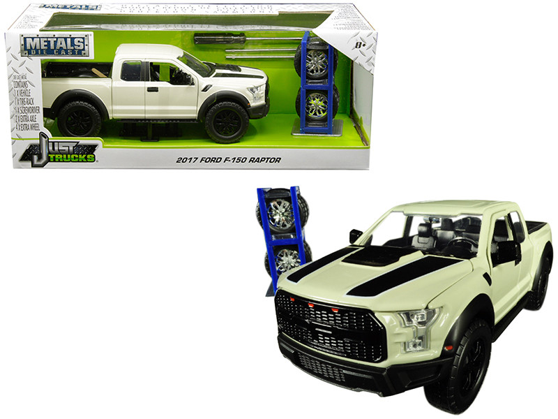 2017 Ford F 150 Raptor Pickup Truck Off White With Black Stripes And Extra Wheels Just Trucks Series 124 Diecast Model Car By Jada