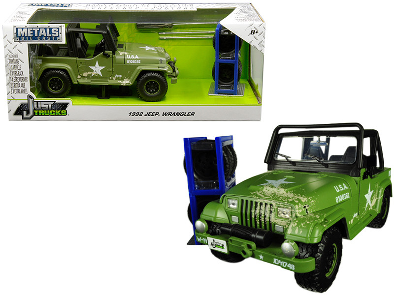 1992 Jeep Wrangler Matt Army Green Extra Wheels Just Trucks Series 1/24 Diecast Model Car Jada 30520