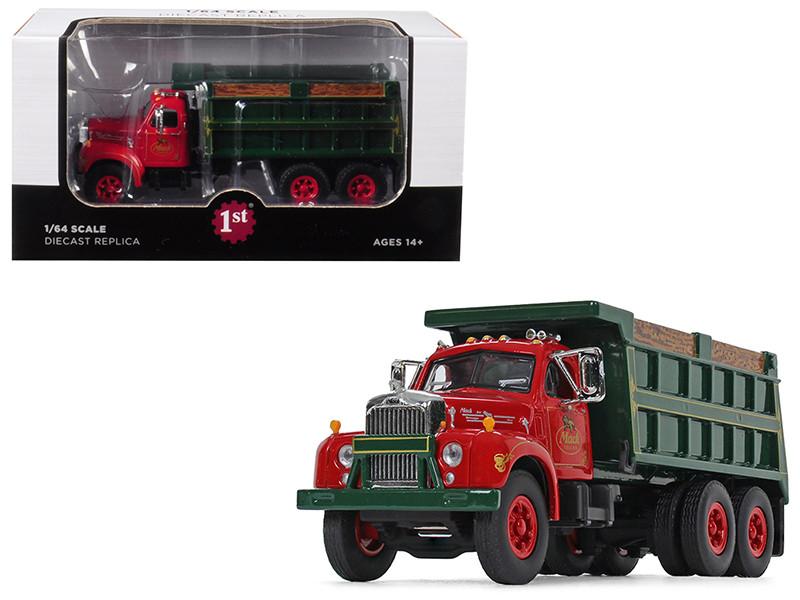 Mack B-61 Tandem Axle Dump Truck Mack Trucks Inc Red Cab Green Body 1/64 Diecast Model First Gear 60-0404